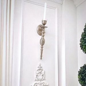 Brush nickel candle sconces